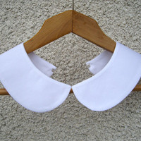 Peter Pan Detachable White Collar Necklace , Hand Made From Fine Cotton Fabric