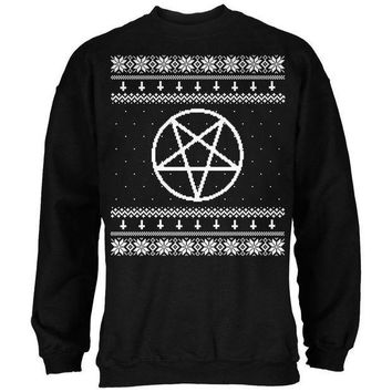 CREYON White Satanic Pentagram Ugly Christmas Sweater Black Adult Sweatshirt