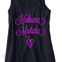 Hakuna Matata Tank Top Flowy Racerback Workout Work Out Custom Colors You Choose Size & Colors
