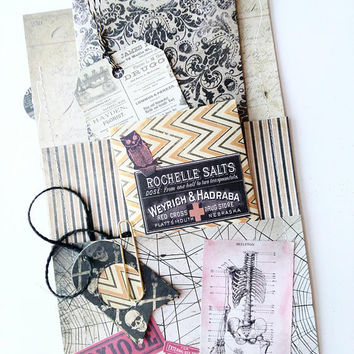 Tim Holtz Loaded Envelope with New Halloween Products (Skeletons Poison Apothecary Bottles Cats Tags Vellum Ephemera)