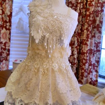 Handmade Shabby chic wedding , shower centerpiece dress form