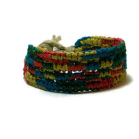 Hemp Bracelet hemp cuff multi color wrist band wide hemp bracelet cuff arm band gypsy hippie accessories waterproof surfer band