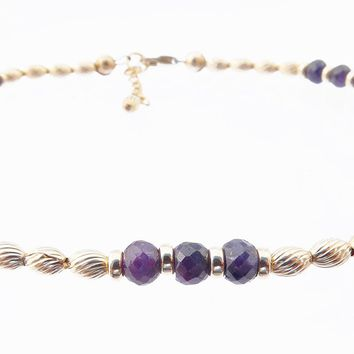 14k Gold-Filled Blue Sapphire Anklet | Truth | Sincerity | Faithfulness Ankle Bracelet | Healing Crystals