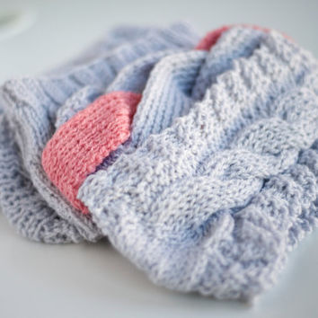 Fall Winter Gray Color Series Pattern Knitted Headband