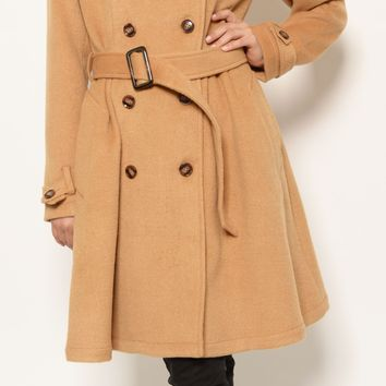 St. Sereno Tan Women's Long Trench / Pea Coat