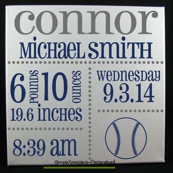 Personalized Baby Stat Canvas, Birth Announcement, Nursery Art 12 x 12 Canvas-VINYL-Baseball from SimpleXpressions-Personalized!