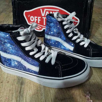 Galaxy Vans High tops Custom Galaxy Vans Hand Painted Vans Shoes