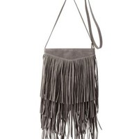 Gray Faux Suede Fringe Cross-Body Bag by Charlotte Russe