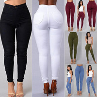 Women Denim Skinny Leggings Pants 2017 New Arrive High Waist Stretch Jeans Slim Pencil Trousers Army Green White Red Blue Black
