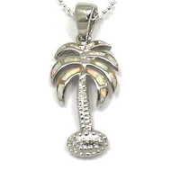 INLAY OPAL SILVER 925 HAWAIIAN PALM TREE PENDANT SMALL
