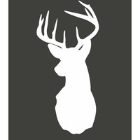 8x10 Digital Print of Deer Silhouette in White with Charcoal Background