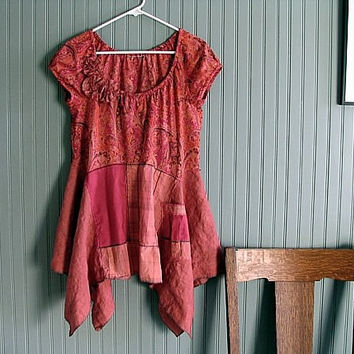 red orange tomato cayenne lagenlook artsy boho tunic ooak refashioned upcycled eco clothing