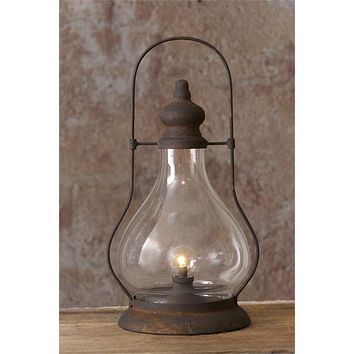 Rustic Hurricane Lamp Lantern with Timer LED Light