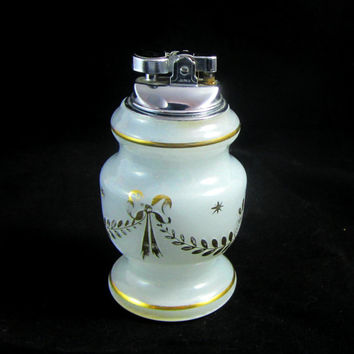 Antique Cigarette Lighter Frosted Glass with Painted Gold Accents Table Lighter Made West Germany