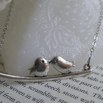 Lovebird necklace- Silver bird necklace- Birds on a branch necklace- Kissing birds- Antique silver bird necklace- Lovebirds- Fashion