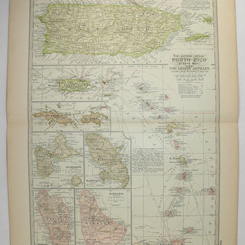 1899 Vintage Map Puerto Rico, Virgin Islands Map, Island Vacation Gift for Couple, 1st Anniversary Gift, Caribbean Islands Gift for Wife