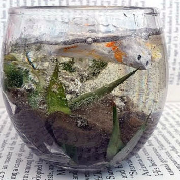 Glass Paperweight - Sculpture - Koi Fish - Resin Terrarium - Bubbles - Home Decor - Office - Decorations - Gift - Fish Bowl - No Care - Clay
