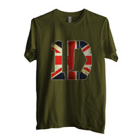 One direction 1D England Flag Men Shirt size S to 2XL Color Army Green