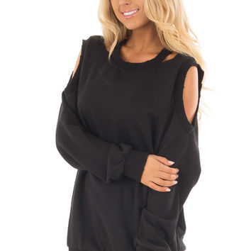 Black Sweater with Cut Out Neckline and Cold Shoulders