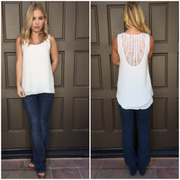 Brixton Lace Back Sleeveless Blouse - WHITE