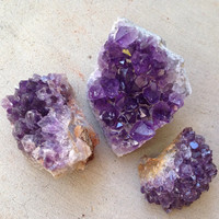 3 Raw Amethyst Crystals small Raw Crystal Amethyst Geode Chunks Amethyst Third Eye Chakra Tool Healing Crystals and Stones