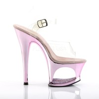 Moon Clear Upper Baby Pink Mirrored Cut Out Platform Rhinestone Heels