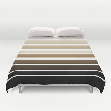 Bay Ombre Stripe: Neutral Duvet Cover by Eileen Paulino