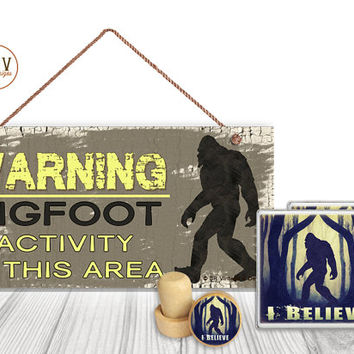 "Gift Set, 4 PC, Big Foot, I Believe 5"" x 10"" Wood Sign, Two Drink Coasters, One Decorative Wine Stopper, Gift Package, Made To Order"