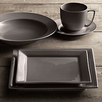 Chinese Porcelain Square-Rimmed Dinnerware Graphite | Restoration Hardware
