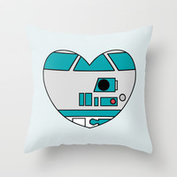R2D2 Valentine Throw Pillow by August Decorous