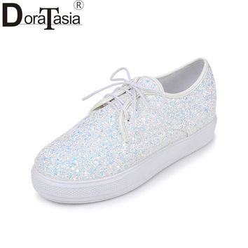 DoraTasia 2018 Spring Autumn Plus Size 30-44 Sweet Glitter Platform Shoes Woman Lace Up Casual Height Increasing Women Shoes
