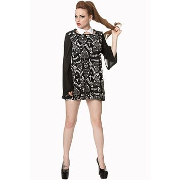 Witchy Moon Ouija Planchette Kitty Black Chift White Collar Mini Dress