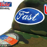 "smARTpatches Truckers Old School ""Fast"" Trucker Hat DJ Hip Hop Car Cap Camo Curved Bill Patch by lidstars headwear"