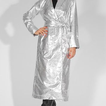 Dr. Evil Silver PU Faux Leather Reflective Metallic Long Belted Wrap Jacket Outerwear