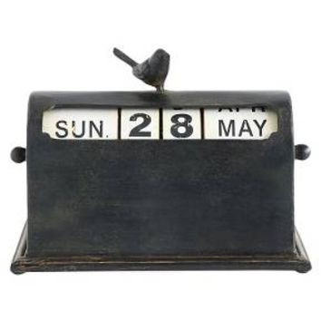 Metal Perpetual Calendar with Bird - Rust Finish - 3R Studios