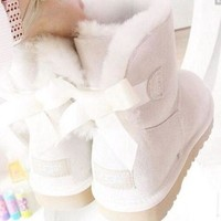 CHEN1ER UGG' Women male Fashion Wool Snow Boots A bowknot Sand white