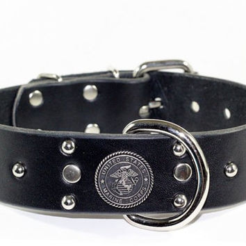 "United States Marine Corps Dog Collar - 1-1/2""  Leather Dog Collar - Usmc Leather Dog Collar"