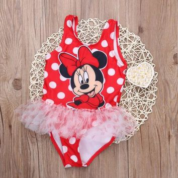 Baby Girls Kids Toddler Cute Mouse Swimwear Swimsuit Mickey Bikini Set Summer Clothes