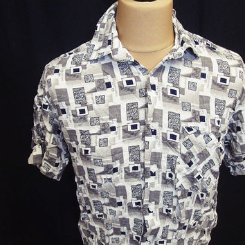 Vintage 80s Geometric Abstract City Square Pixel Oversized Crazy Pattern Shirt M