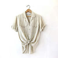 Vintage Oatmeal Shirt. Rayon Pocket Tee Shirt. Slouchy Button Up Tshirt. Minimal Shirt. Basic Button Up Shirt.