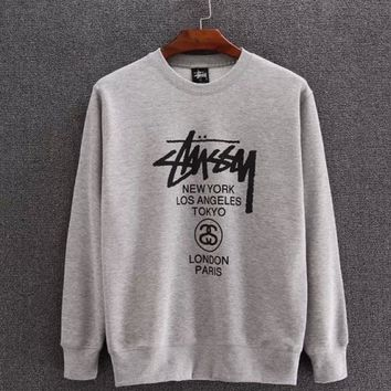 Stussy print fashion long sleeve tops sweater Sweatshirt