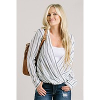 Nora Striped Open Blouse