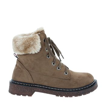 Fur Trim Suede Work Boot (KHAKI)