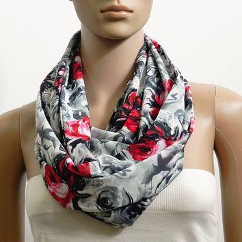 Floral Infinity Scarf Shawl Black Gray Fashion Scarves for Women Circle Cowl Scarf Tube Scarf Summer Scarf Gift for her Handmade Accessories