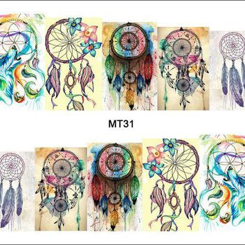 PEAPGB2 1 Sheet Nail MT31 Full Cover Color Dream Catcher POP Nail Art Water Transfer Sticker Decal For Nail Art Tattoo DIY Nail Tool