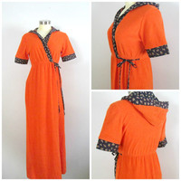 1970s Hooded Terrycloth Wrap Robe // Orange Black Calico Print Coverup