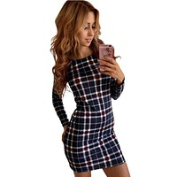 Women Striped Dress Skinny Tartan Round Neck Knit Plaid Printed Pencil Dress Female Party Dress