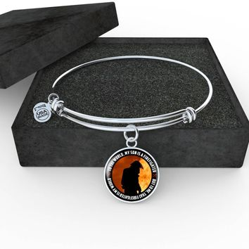 'My Son Is a Firefighter' Personalized Luxury Circle Necklace & Bangle