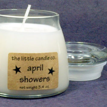April Showers Soy Candle Jar - Hand Poured and Highly Scented Container Candles