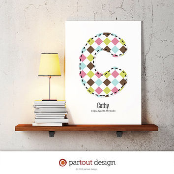 letter C baby nursery art monogram logo personalized gift baby name initial art print DIY printable letter nursery decor initial name art